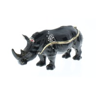 Ciel Black Rhinoceros Zoo Animal Trinket Box with Rhinestone Bling