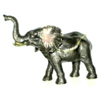 Ciel Jeweled Grey African Elephant Collectible Trinket Box Austrian Crystals