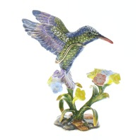 Jeweled Humming Bird on a Flower Trinket Box with Rhinestone Bling