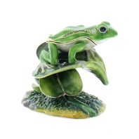 Jeweled Frog on Lotus Leaf Collectible Trinket Box Austrian Crystals