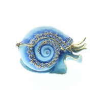 Jeweled Blue Snail Ciel Collectible Hinged Trinket Box Austrian Crystals