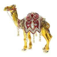 Ciel Arabian Standing Desert Camel with jeweled saddle Trinket Box with Rhinestone Bling