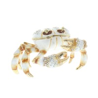 Ciel Jeweled White Sand Crab Trinket Box with Rhinestone Bling