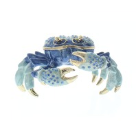 Ciel Jeweled Blue Sand Crab Trinket Box with Rhinestone Bling