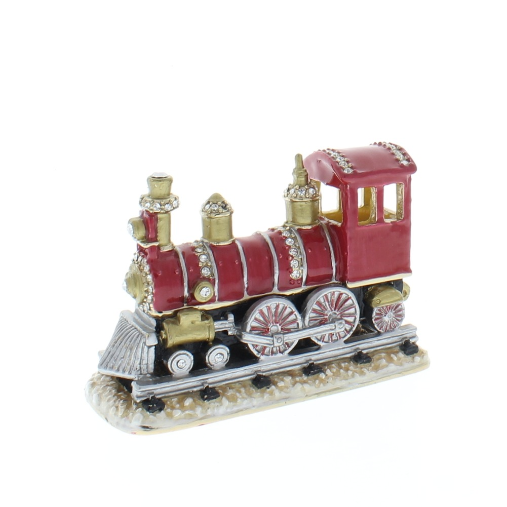Jeweled Red Train Engine Crystal Ciel Hinged Collectible Trinket Box