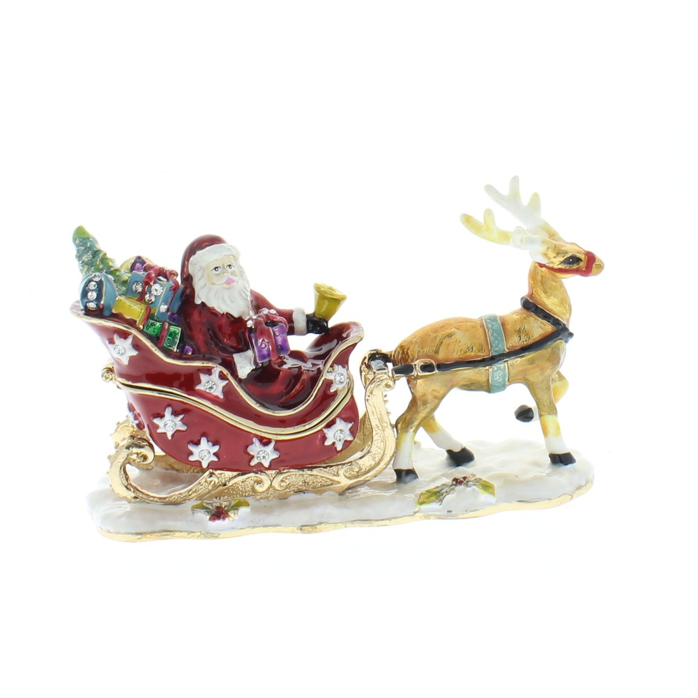 Jeweled Santa Sleigh Reindeer Crystal Ciel Hinged Collectible Trinket Box