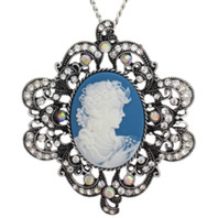Blue Cameo Necklace with Rhinestone Bling accents Necklace pendant Set