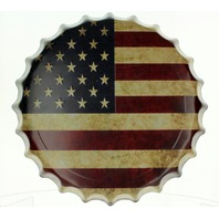 US American Flag Bottle cap Round Metal Sign Pub Game Room Bar Garage
