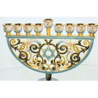 Ciel Collectables Decorative Menorah with Star of David Austrian Crystals Blue and White