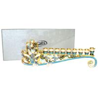 Ciel Collectables Hamsa Decorative Menorah with Aqua and Gold Austrian Crystals