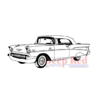 Deep Red Rubber Stamp Farm Chevy Bel Air Vintage Retro Car