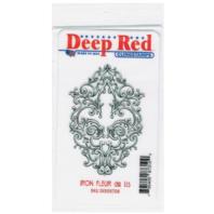 Deep Red Rubber Cling Stamp Iron Fleur De Lis Decorative Design Emblem