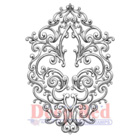 Deep Red Rubber Cling Stamp Iron Fleur De Lis Decorative Design Emblem