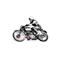 Deep Red Rubber Cling Stamp Motorcycle Racer Biker with Helmet