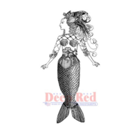 Deep Red Rubber Cling Stamp Altered Mermaid Steampunk Woman Lady