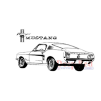 Deep Red Rubber Cling Stamp Ford Mustang Fastback Muscle Car