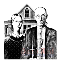 Deep Red Rubber Cling Stamp American Gothic