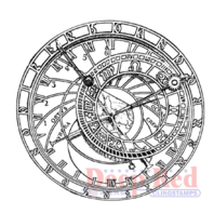 Deep Red Rubber Cling Stamp Astronomical Clock Steam Punk