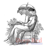 Deep Red Rubber Cling Stamp Woman Reading in the Garden