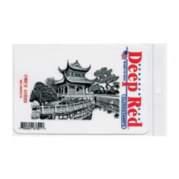 Deep Red Rubber Stamp Chinese Garden Asian Inspired Scene