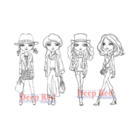 Deep Red Rubber Stamp City Girls Fall Fashion Trendy Girls