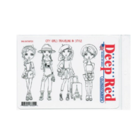 Deep Red Rubber Stamp City Girls Traveling in Style Fashion Trendy Girls
