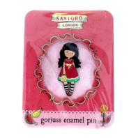 Santoro London Gorjuss Enamel Every Summer Has a Story Hat Lapel Pin New on Card