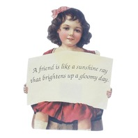 Old Print Factory Embossed Magnetic Verse Card Friendship is Like Sunshine Rays