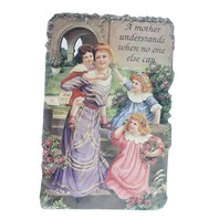 Old Print Factory Victorian Embossed Magnetic Verse Card A Mother Understands