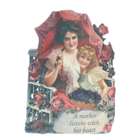Old Print Factory Embossed Magnetic Verse Card A Mother Listens with her Heart