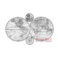 Deep Red Rubber Stamp City Girls Old World Map Olde Cartography