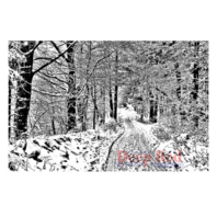 Deep Red Rubber Stamp Snowy Path in the Forest Robert Frost Woods