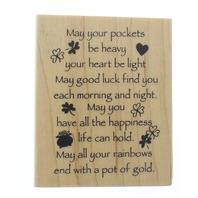 Inkadinkado Irish Good Luck Limerick  Wooden Rubber Stamp