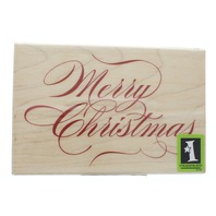 Inkadinkado Merry Christmas Cursive Writing Wooden Rubber Stamp