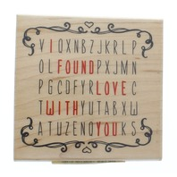 Inkadinkado Word Search I Found Love With You Wooden Rubber Stamp
