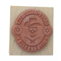 Inkadinkado Happy Halloween Guys and Gals Skeleton Cowboy Wooden Rubber Stamp