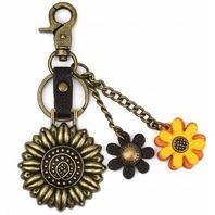 Chala Sunflower Garden Metal Key Chain Purse Leather Bag Fob Charm New