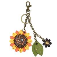 Chala Happy Sunflower Key Chain Purse Leather Bag Fob Charm New