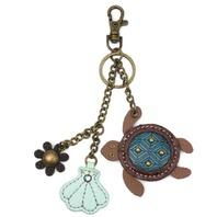 Chala Tiny Turtle and Sea Shell Key Chain Purse Leather Bag Fob Charm New