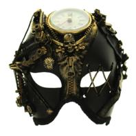 Mardi Gras Steampunk Phantom Mask Gold Tone Accents Gothic Punk Zipper