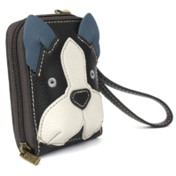 Charming Chala Boston Terrier Puppy Dog Purse Wallet Credit Cards RFID Wristlet