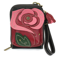 Charming Chala Romantic Red Rose Flower Purse Wallet Credit Cards RFID Wrist
