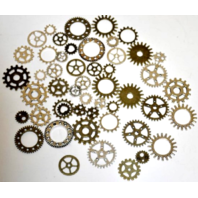 Steampunk Gears charm accents Golden Bronze-Toned for crafting
