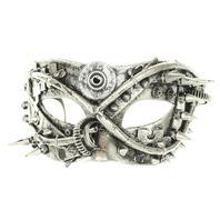 Mardi Gras Steampunk Spike Mask Silver Tone Accents