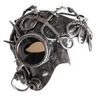 Mardi Gras Steampunk Phantom Mask Silver tube Accents Gothic Punk Eye Goggle
