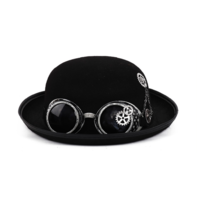 Steampunk Bolo Hat with Goggles and Gears Vintage Inspired Costume Reenactment