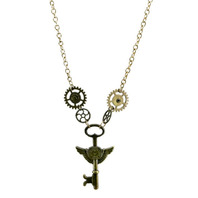 Steampunk Gears and Winged Key Necklace Golden Bronze-Toned