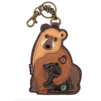 Chala Brown Bear with Baby Whimsical Key Chain Coin Purse Bag Fob Charm