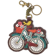 Chala Hipster Bicycle with Flowers Whimsical Key Chain Coin Purse Bag Fob Charm