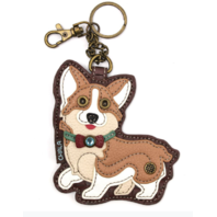 Chala Corgi Puppy Dog Whimsical Key Chain Coin Purse Bag Fob Charm